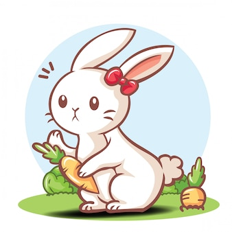 Cute rabbit cartoon character .