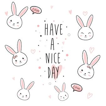 귀여운 토끼 만화 낙서 파스텔
