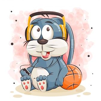 Милый кролик мультфильм слушает музыку и позирует с баскетбольной иллюстрацией