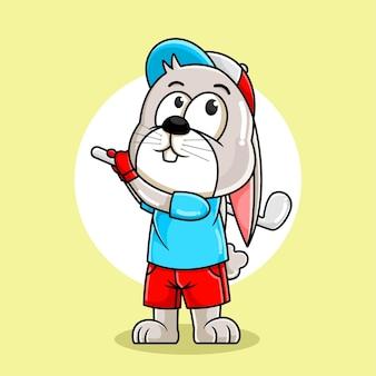 Милый кролик мультфильм играет в гольф иллюстрация