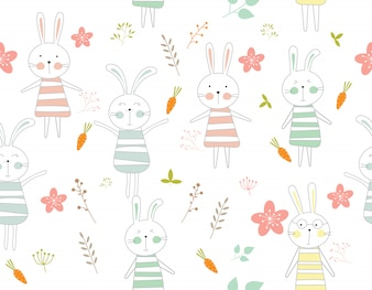 Cute rabbit cartoon seamless pattern animal
