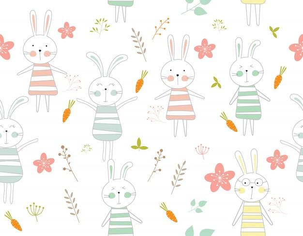 Cute rabbit cartoon seamless pattern animal