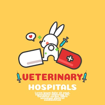 Cute rabbit cartoon vector. veterinary hospital logo .