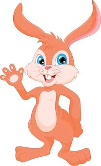 手を振っているかわいいウサギの漫画