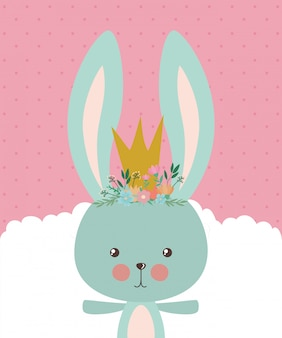 Cute rabbit cartoon with crown