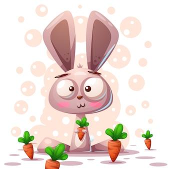 Cute rabbit character - cartoon illustration.