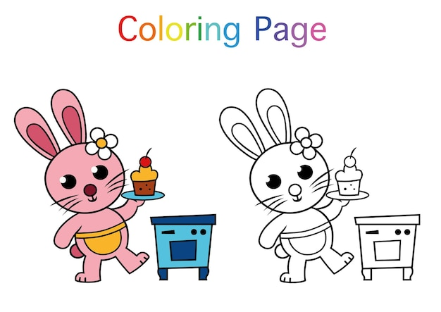 Cute rabbit character for color book color page activities vector illustration