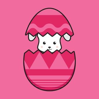 かわいいウサギのキャラクターは、卵の漫画のアイコンイラストイースターの日のアイコンの概念から抜け出します