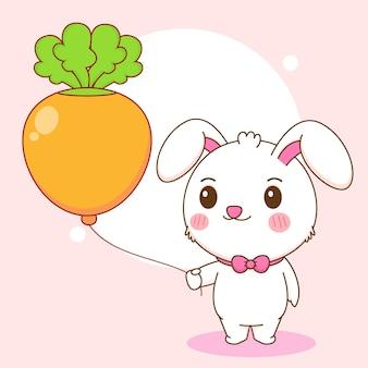 당근 풍선 만화 일러스트를 들고 귀여운 토끼 캐릭터