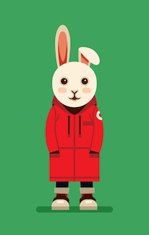 Cute rabbit character wearing red jacket