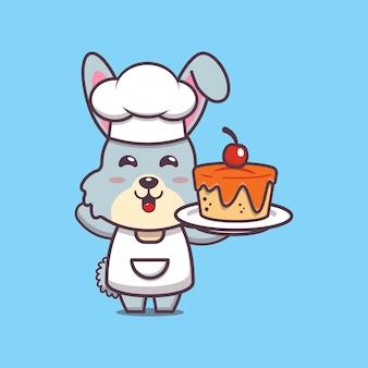 귀여운 토끼 요리사 캐릭터 일러스트
