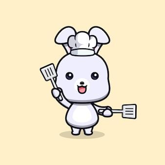Cute rabbit chef holding spatula animal mascot character