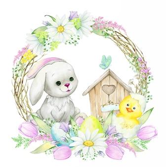 かわいいウサギ、鶏、枝と花で作られた丸いフレーム。漫画スタイルの水彩画の概念