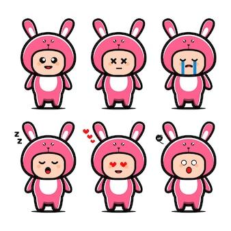 귀여운 토끼 의상 만화 캐릭터