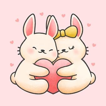 Милая пара кроликов, обнимая сердце мультфильма рисованной стиль