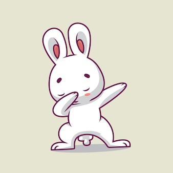 かわいいウサギを軽くたたく漫画イラスト