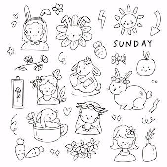 Милый кролик каракули рисунок наклейка на белом фоне. рука рисовать милую девушку и животное в весенний счастливый день.