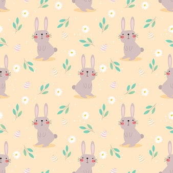 Cute rabbit and easter eggs seamless pattern.