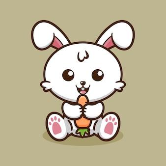 귀여운 토끼 먹는 당근 디자인