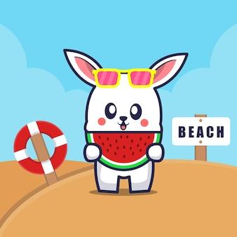 Cute rabbit eat watermelon on the beach cartoon illustration
