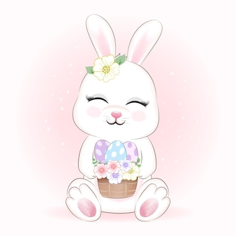Cute rabbit and eggs in basket animal illustration