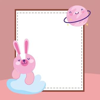 Cute rabbit empty banner