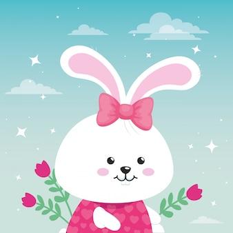 꽃 장식 벡터 일러스트 디자인으로 귀여운 토끼 여성