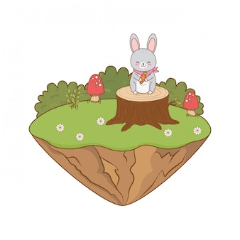 Cute rabbit in the field woodland character