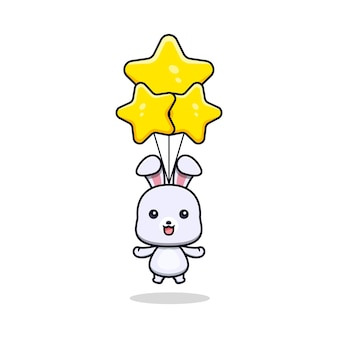 Cute rabbit floating with star balloon animal mascot character