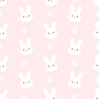 Cute rabbit and flower seamless background repeating pattern, wallpaper background, cute seamless pattern background