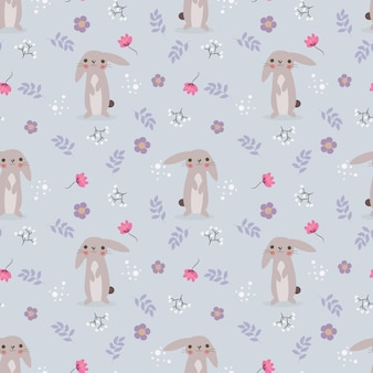 Cute rabbit and flower seamless pattern.