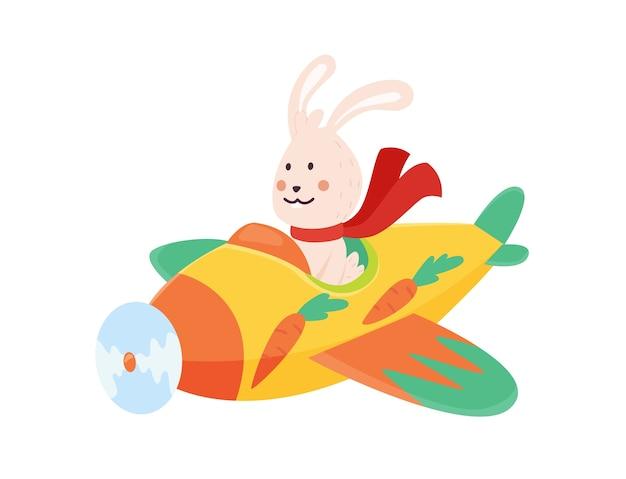 스카프 펄럭이는 비행기를 비행하는 귀여운 토끼. 재미있는 조종사 비행기에 비행. 만화 흰색 배경에 고립입니다.