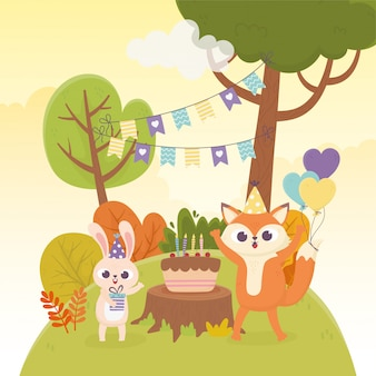 Cute rabbit fox party hats cake balloons decoration celebration happy day illustration