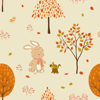Cute rabbit and friends in autumn forest seamless pattern for fabrictextileprint or wallpaper