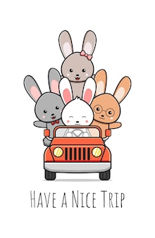Cute rabbit and friends greeting cartoon doodle card icon illustrationdesign flat cartoon style