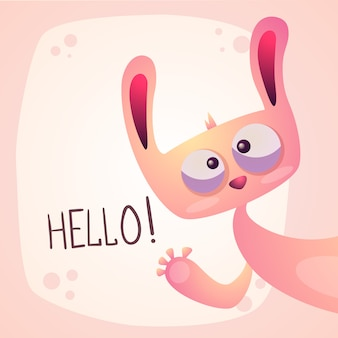 Cute rabbit - funny hello illustration