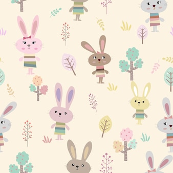 Cute rabbit in the garden cartoon seamless pattern.