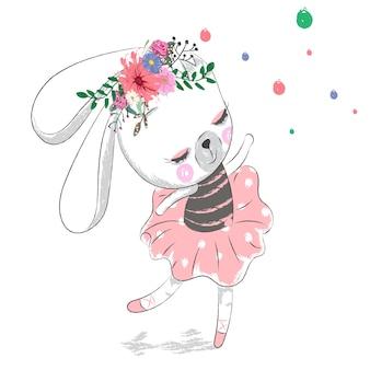 Cute rabbit girl ballerina cartoon hand drawn