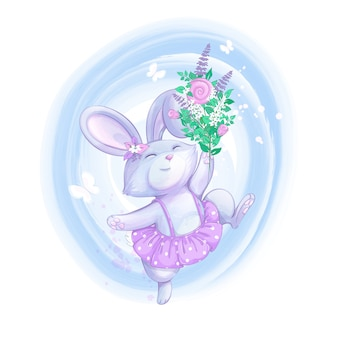 Cute rabbit girl cheerfully jumps. a bouquet of wildflowers, white butterflies