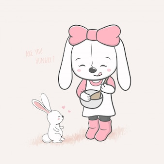 Cute rabbit girl cooking for baby rabbit cartoon hand drawn
