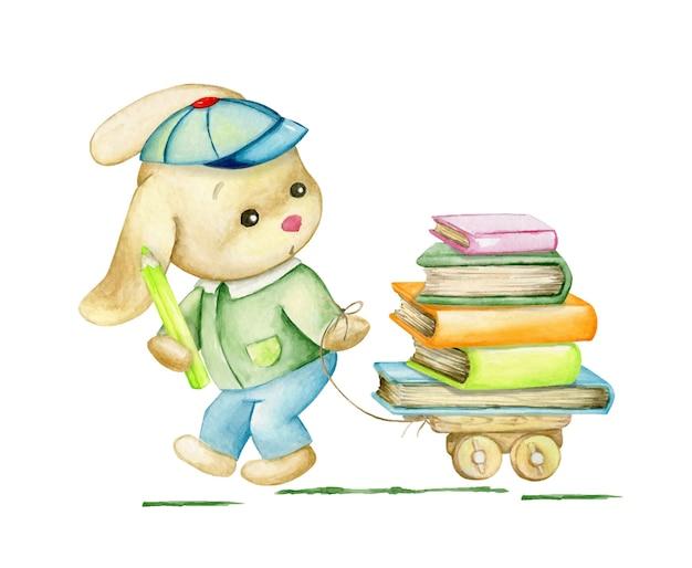 Милый кролик, едет и водит тележку с книгами. акварельный клип в мультяшном стиле на изолированном фоне на школьную тему.