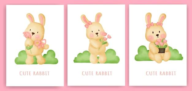 Симпатичная открытка с кроликом в акварели.