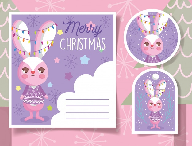 Cute rabbit happy christmas tags and card