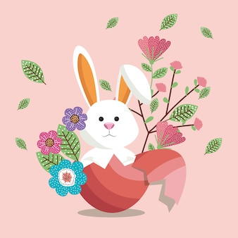 Cute rabbit happy easter card