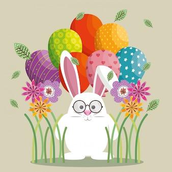 귀여운 토끼 행복 한 부활절 카드
