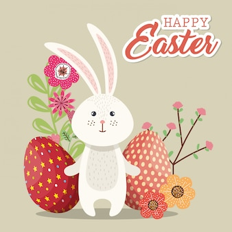 Cute rabbit happy easter card