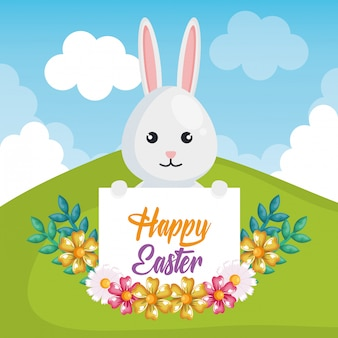 Cute rabbit happy easter celebration greeting card
