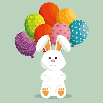 Cute rabbit happy easter