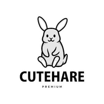 Симпатичный кролик заяц кролик мультфильм логотип значок иллюстрации