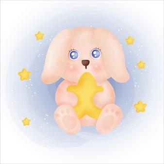 스타 iillustration를 들고 귀여운 토끼